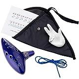 Czemo Ocarina Zelda 12 Agujeros Instrumento Cerámica Alto C + Soporte Blanco + Cuerda + B...
