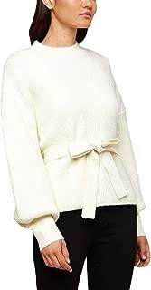 Black Label Women's Tie Waist Blouson Sleeve Pullover Sweater