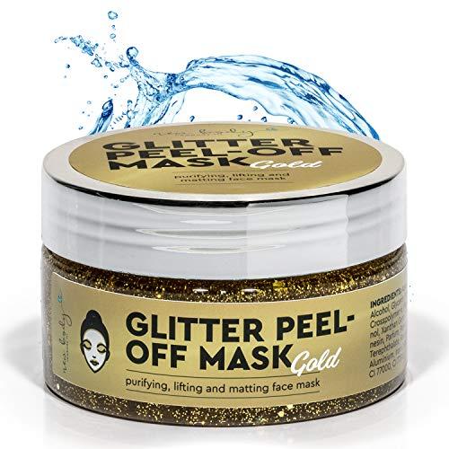 new body® Goldene Gesichtsmaske für schönere Haut - Anti Mitesser Peel of Mask mit Glitzer Effekt - Facemask spendet Feuchtigkeit & entfernt Unreinheiten