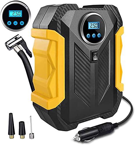 Compresor de aire portátil,Digital Inflador Ruedas Coche con LED Display y Tráquea de 3m de Largo, de Automóviles/Moto/Bicicleta/Pelotas