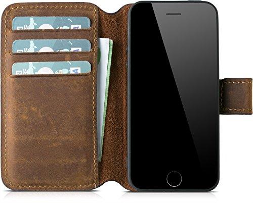 """Blumax Handyhülle Echt Leder kompatibel mit iPhone 5 / 5s / SE als Leder Flip Case für das Original Apple iPhone 4"""" Zoll Luxusdesign Vintage Farbe antik braun mit Magnet"""
