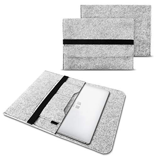 NAUC Laptoptasche Sleeve Schutztasche Hülle kompatibel für Trekstor Primetab T13B Netbook Ultrabook 13,3 Zoll Laptop Filz Hülle, Farben:Hell Grau