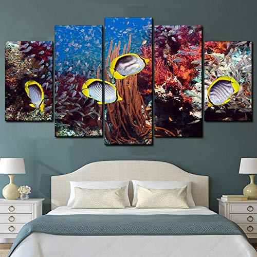 KOPASD Art Impresión Lienzo,Tamaño Grande, Arrecife de Coral y Peces Tropicales. -200x100cm Diseño Profesiona/5pcs(Sin Marco)
