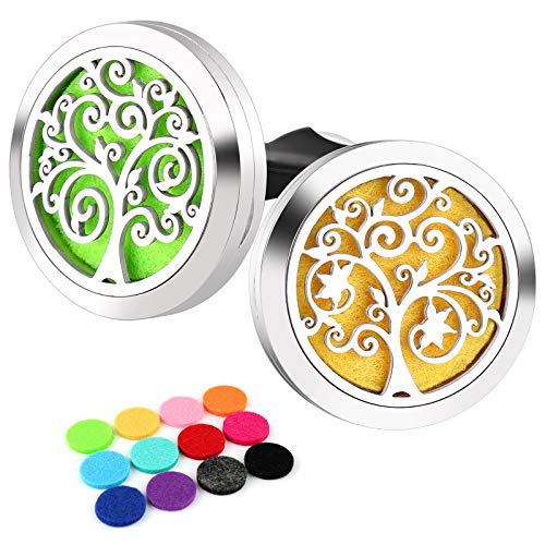 RoyAroma 30mm Car Aromatherapy Vent Clip 2PCS Car Essential Oil Diffuser Stainless Steel Locket with 12 Felt Pads