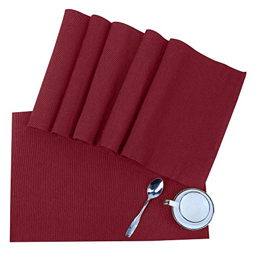Tovagliette in cotone - 49X33cm Colore del vino rosso - set di 6 - tovagliette americane da cucina, tappetini da tavola, accessori per ristoranti - Tovagliette per pranzo / cena / colazione
