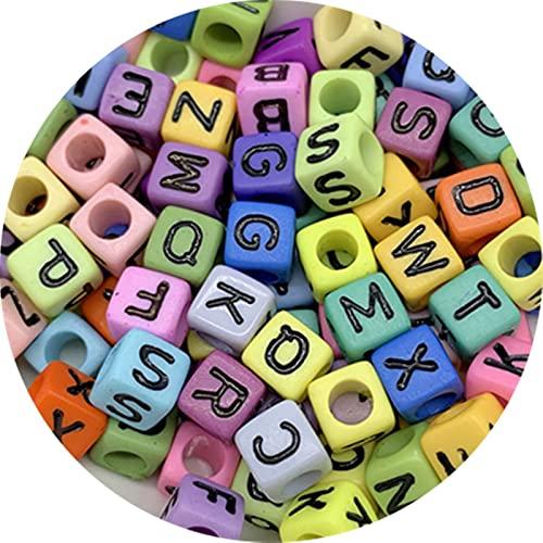 DYKJK 500 cuentas de acrílico mixtas con letras del alfabeto digital sueltas para hacer joyas, hacer manualidades, pulsera hecha a mano, collar para pulseras de bricolaje (color: 6 x 6 mm)