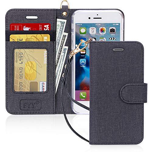 FYY Cover iPhone 8,Custodia iPhone 7,Cover iPhone 7,[RFID Blocco Portafoglio] Flip Custodia Portafoglio in PU,[Funzione Staffa]con Slot per Schede e Chiusura Magnetica per iPhone 8 7-Can Nero