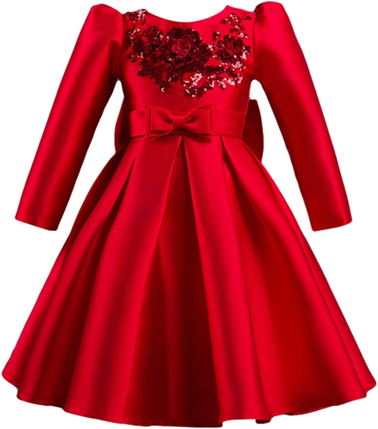 Zhhlinyuan Girls Vintage Sequin Flower Wedding Party Bridesmaid Pageant Dress - High Waist Formal Ball Gown Dresses with Big Bowknot