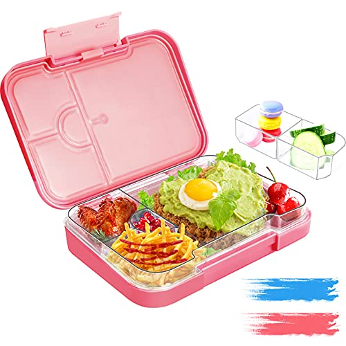 Braoses Fiambrera Lunch Box Infantil Bento Box se Puede Desmontar 6 Compartimentos o 4 Compartimentos, Caja de Bento Para Niños, FDA y Certificación Alemana LFGB