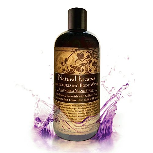 Natural Escapes | Organic Lavender & Ylang Ylang Moisturizing Body Wash | Calming Sulfate-Free Body Wash Leaves Skin Soft, Hydrated & Healthy | Great for Sensitive Skin | 12oz Bottle