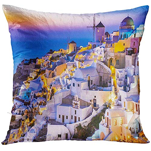 Funda de almohada Oia Santorini Grecia Idyllic Attraction of White Village con calles en relieve y molinos de viento Islas griegas funda de almohada decorativa para el hogar decoración cuadrada 45,7 x 45,7 cm funda de almohada