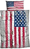 Casatex Bettwäsche Stars & Stripes aktueller Used Look, Renforcè, 135x200 cm + 80x80 cm, 2-TLG. Set, grau-rot-blau