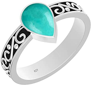 Turquoise Ring Pear Sterling Silver Vintage Boho Style Solitaire Rings for Men Women