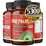 Premium Organic Saw Palmetto Capsules 5300 mg, Highest Potency with Ashwagandha, Turmeric, Tribulus and Maca, Natural Prostate Supplement, Dht Blocker and Hair Growth - 3 Months Supply.*