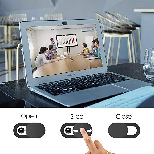 KIWI Design Webcam Abdeckung, 3er-Pack Laptop Kamera Abdeckung Slide Ultra Dünn mit Reinigungstuch für Laptop, PC, MacBook, iMac, Computer, iPad, Smartphone 3 Schwarz