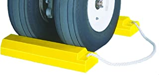 Tigerchocks AC3518-RP-P Urethane Lightweight Commercial Aviation Wheel Chock with Rubber Base, Yellow, 18