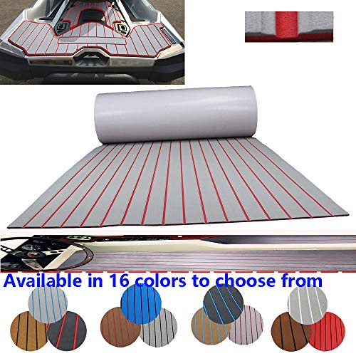 CNLZ High-Grade EVA Foam Faux Teak Decking Self-Adhesive Boat Decking Sheet Marine Yacht RV Swimming Pool Boat Flooring Sheet Thick Non-Skid 94.5' 35.4' (Light Gray red Stripes)