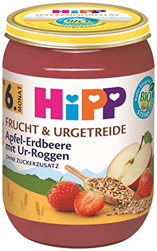 Hipp Bio Frucht & Urgetreide Apfel-Erdbeere mit Ur-Roggen, 6er Pack (6 x 190 g)