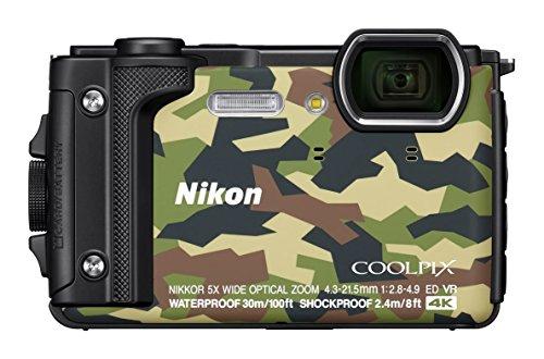Nikon VQA073K001 - Kompakte Digitalkamera W300, 16 MP, 3 LCD-Bildschirm, 4 K FHD, AF-Technologie Camouflage - Holiday Kit mit wasserdichtem Rucksack