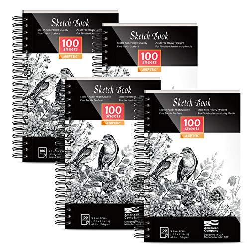 Cuaderno de bocetos, AGPtEK Set de cuadernos de dibujo de 4 paquetes de 400 hojas, cuadernos de dibujo profesionales, encuadernados en espiral, ideales para bolígrafos, lápices y lápices de colores.
