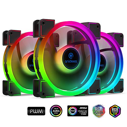 anidees AI Aureola Duo 140 mm 3er RGB PWM Dual Light Loop Lüfter Kompatibel mit adressierbarem 5V 3Pin RGB Header für PC Gehäuse Lüfter, Kühlerlüfter mit Fernbedienung (AI-AR-DUO14)