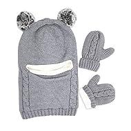 Baby Winter Hat Scarf Mitten Set, Unisex Infant Toddler Kids Hat Scarf