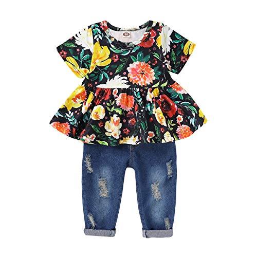 Kleinkinder Baby Mädchen Sommer Outfit Kurzarm Blumen Rüschen Top Shirt Zerrissene Destroyed Jeans Hose Stirnband 3 Stück Kleidung für Party Casual Bekleidungsset Babybekleidung 6-12 Monate