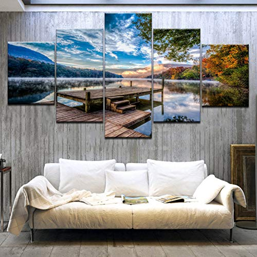 GHTAWXJ 5Panel HD gedruckte Brücke blauen Himmel Mountain River Landschaftsdruck auf Leinwand Kunst Malerei für Wohnkultur Dekoration
