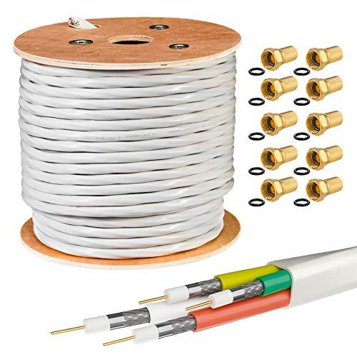 50m HB DIGITAL Quattro-Kabel Koaxial SAT 4-Fach Kabel Weiß 4-in-1 für Ultra HD 4K DVB-S / S2 DVB-C und DVB-T / T2 BK Anlagen + 30 vergoldete F-Stecker Set Gratis dazu (Quattro, Quad Kabel)