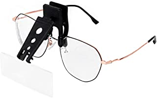 Clip Magnifying Glass 1.5X 2.5X 3.5X Magnification Clip On Eyeglass Magnifier with 3 Interchangable Lenses Jewelry Loupe Glasses Magnifier Lens for Reading Electronics Watch Repair