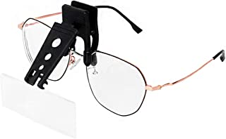 Clip on Magnifying Glass 1.5X 2.5X 3.5X Optical Magnifier with 3 Interchangable Lenses Glasses Magnification Flip Magnifiers Lenses for Reading,Crafts,Repairing Electronics,Operation,Needlework,Map