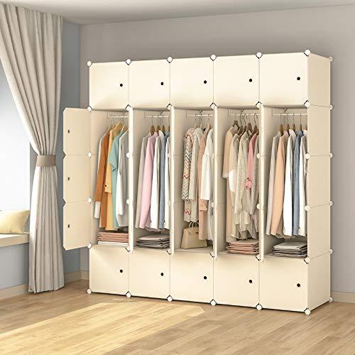 KOUSI Portable Wardrobe Closets 14x18 Depth Cube Storage Bedroom Armoire Storage Organizer with Doors 25 Cube White