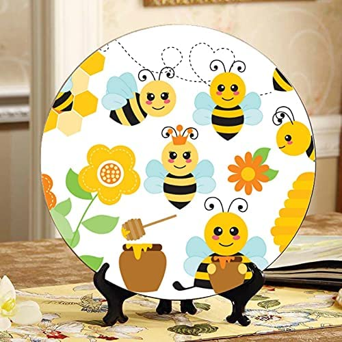 AQQA Max sale 69% OFF Honey Flower Heart Bee Hive Decorativ Plates and Decorative