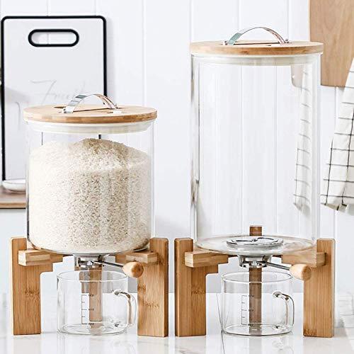 Vorratsbehalter Glas, Große Mehlbehälter für Müslispender, Lebensmittelbehälter, Glasgefäße Küche Luftdichter Reiskübel, 5 L / 8 L, Lebensmittel Frisch Halten