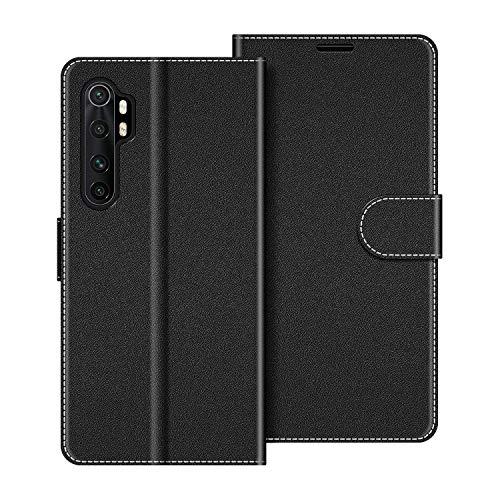COODIO Handyhülle für Xiaomi Mi Note 10 Lite Handy Hülle, Xiaomi Mi Note 10 Lite Hülle Leder Handytasche für Xiaomi Mi Note 10 Lite Klapphülle Tasche, Schwarz