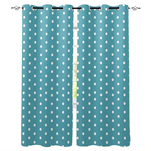 CHARMHOME Grommet Curtain Polka Dot Window Treatment Curtains for Living Room/Bedroom,2 Panels, 27.5 by 39-Inch