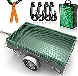 DPStore® Rete per rimorchio, 2 m x 3 m, con 4 marcature angolari + ganci di fissaggio, rete di sicurezza del carico con elastico per una tenuta ottimale