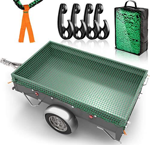 DPStore® Anhängernetz - 2mx3m Netz mit 4 Eckmarkierungen + Befestigungshaken - Ladungssicherungsnetz mit Spanngummi für optimalen Halt
