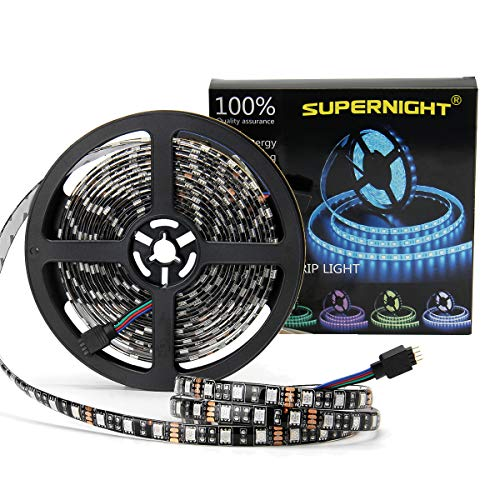 SUPERNIGHT 16.4ft 5050 RGB Strip Waterproof Black PCB, 300 LED Color Changing Rope Lights for Bedroom, Christmas Day, Halloween Decoration