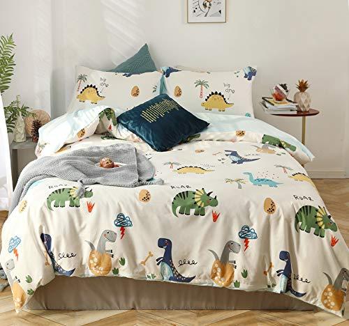 GETIYA 【Neueste】 Dino Bettwäsche 135x200 Kinder Bettwäsche Cartoon Dinosaurier Bettbezug Bunt 100% Baumwolle Wendebettwäsche Mädchen Jungen Bettwäsche mit kopfkissenbezug 80x80 und Reißverschluss