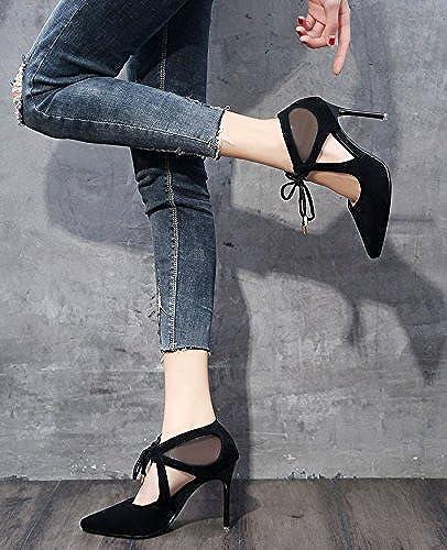 SFSYDDY high Chaussures à talons et coréen femelle fine Documentaire creux sexy Chaussures à lacets Chaussures marée