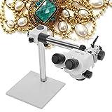 SuRose Lupa, Lupa de joyería, 7X-45X Microscopio estéreo Binocular de Zoom Continuo multidireccional con portabrocas Inclinado para engaste de joyería, Herramienta de procesamiento