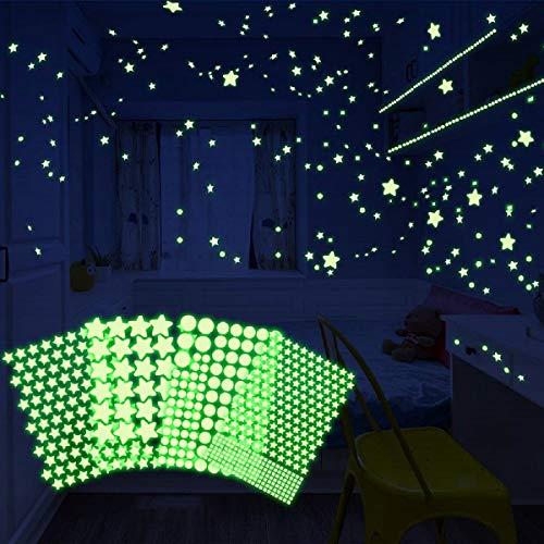 HOMMINI leuchtsterne selbstklebend Leuchtsticker Wandtattoo, 556 Leuchtsterne/Leuchtpunkte für deinen Sternenhimmel- selbstklebend und fluoreszierend Leuchtaufkleber für Schlafzimmer Kinderzimmer