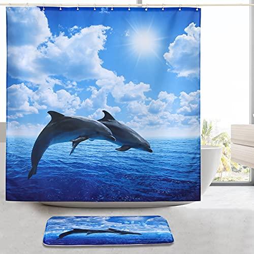 ENCOFT Duschvorhang Set 2 Teilig Meer Delfin Muster Mit Badematten Anti-Schimmel Wasserabweisend Badvorhang 180x180CM rutschfeste Absorbierende Bodenmatte 40x60CM