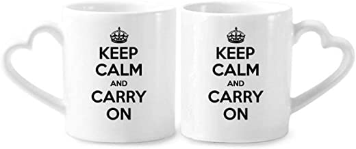 cold master DIY lab Quote Keep Calm And Carry On Black Couple Mugs Ceramic Lover Cups Heart Handle 12oz Gift Multicolor