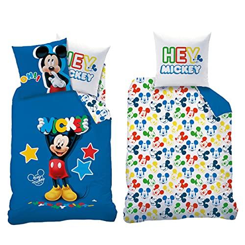 Beronage Mickey Mouse Story - Juego de cama (135 x 200 cm + 80 x 80 cm, 100% algodón, renforcé), diseño de Mickey Mouse
