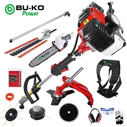 BU-KO 52cc Long Reach Petrol Multi Functional Garden Tool Including: Strimmer, Hedge...