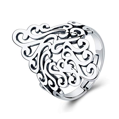 XCFS BEAUTY 925 Sterling Silver Plated Retro Celtic Knot Hollow Long Vintage Pattern Adjustable Band Ring,Size 5-9