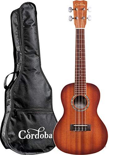 Cordoba 15CM-E Sunburst Acoustic-Electric Concert Ukulele with Cordoba Concert Ukulele Gig Bag and Cordoba Clip-on Tuner