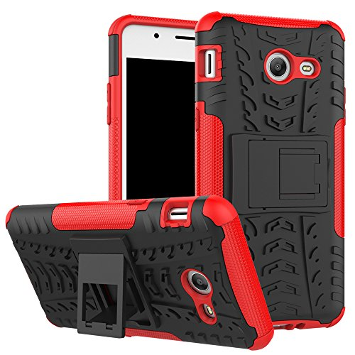 Smfu Funda Compatible XiaoMi Redmi Note3/Note2 Pro Carcasa Rugged Híbrido Resistente Absorción Anti-arañazos Funda Absorción Impactos con Pie De Apoyo Caja [con Mica 2Unidades]-Rojo